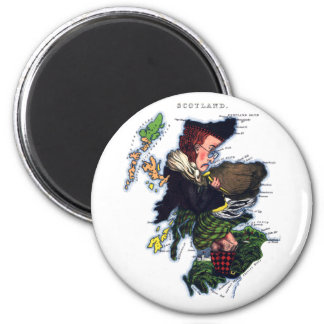 Scotland Caricature Map 2 Inch Round Magnet