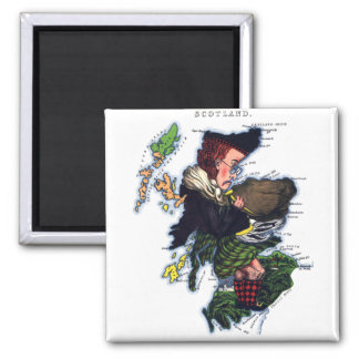 Scotland Caricature Map 2 Inch Square Magnet