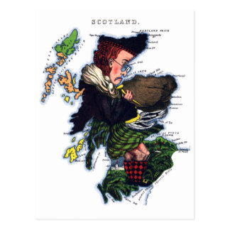 Scotland Caricature Map Postcard
