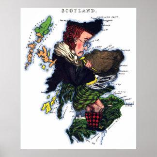 Scotland Caricature Map Print