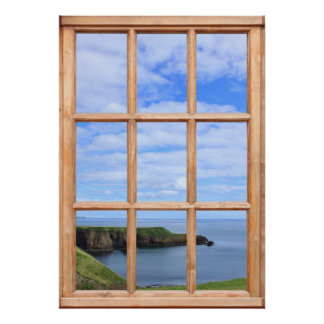 Scotland Coast, Sky and Ocean View from a Window Poster
