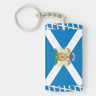 Scotland Coat of Arms and Flag Single-Sided Rectangular Acrylic Keychain