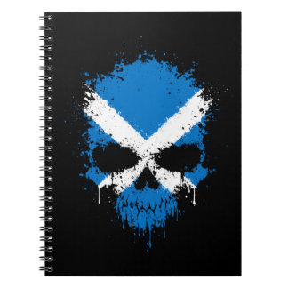 Scotland Dripping Splatter Skull Notebook