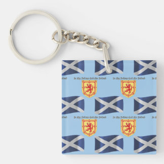 Scotland Flag, Crest and Motto Keychain