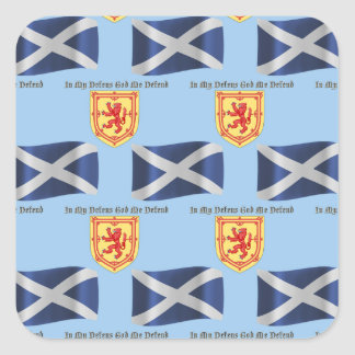 Scotland Flag, Crest and Motto Square Sticker