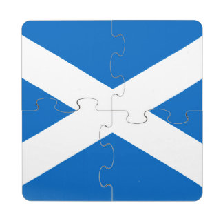 Scotland Flag Design Puzzle Coaster