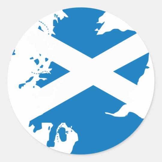 Scotland flag map classic round sticker