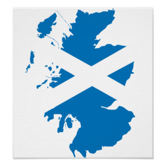 Scotland Flag Map full size Poster
