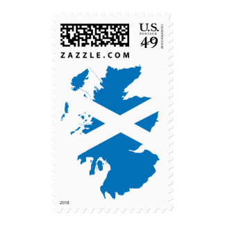 Scotland flag map postage stamps