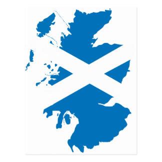 Scotland flag map postcard