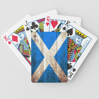 Scotland Flag on Old Wood Grain Bicycle Playing Cards