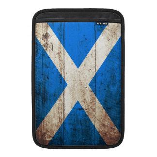 Scotland Flag on Old Wood Grain MacBook Air Sleeve