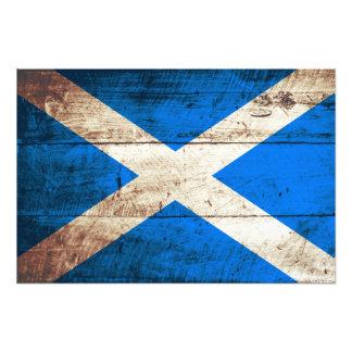 Scotland Flag on Old Wood Grain Photo Art