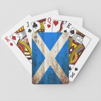 Scotland Flag on Old Wood Grain Playing Cards