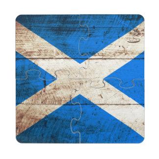 Scotland Flag on Old Wood Grain Puzzle Coaster