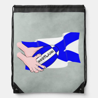 Scotland Flag Rugby Ball Supporters Cartoon Hands Drawstring Bag