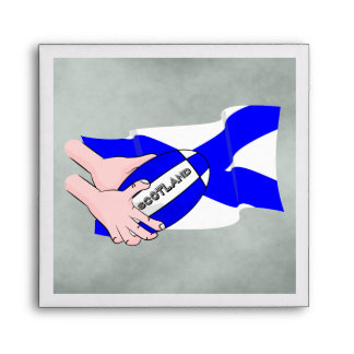 Scotland Flag Rugby Ball Supporters Cartoon Hands Envelope