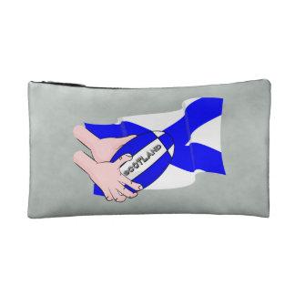 Scotland Flag Rugby Ball Supporters Cartoon Hands Makeup Bag