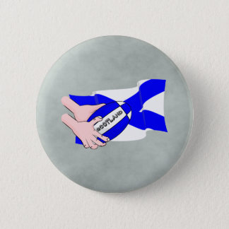 Scotland Flag Rugby Ball Supporters Cartoon Hands Pinback Button