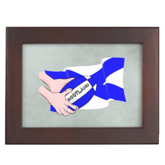 Scotland Flag Rugby Ball Supporters Cartoon Hands Keepsake Boxes