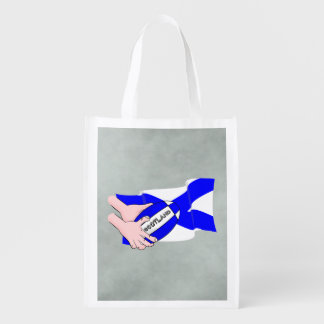 Scotland Flag Rugby Ball Supporters Cartoon Hands Reusable Grocery Bag