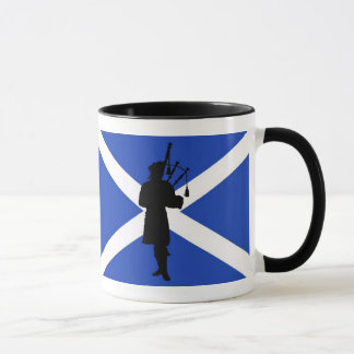 Scotland flag, Scottish bag piper silhouette Mug