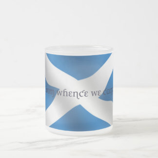 Scotland Flag White Cross From Whence We Came Frosted Glass Coffee Mug