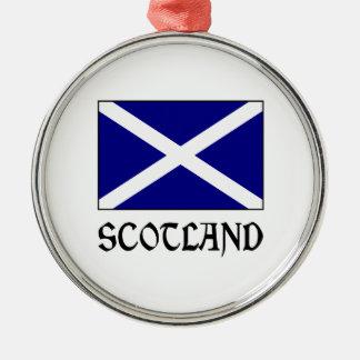 Scotland Flag & Word Metal Ornament