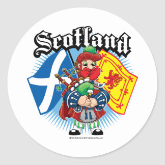 Scotland Flags and Piper Classic Round Sticker