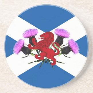Scotland, flower thistle, Rampant lion Beverage Coaster