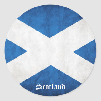 Scotland Grunge Flag Classic Round Sticker