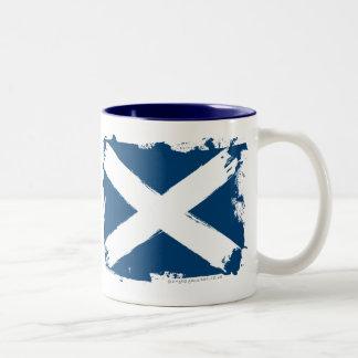 Scotland Grunge Flag Two-Tone Coffee Mug