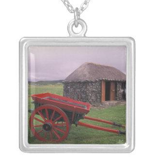 Scotland, Isle of Skye, Kilmuir. Rural landscape Square Pendant Necklace