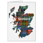 Scotland Map Multi Tartan Greeting Card