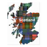 Scotland Map Multi Tartan Postcard