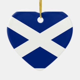 Scotland(Navy Blue), United Kingdom flag Double-Sided Heart Ceramic Christmas Ornament