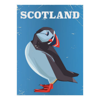 Scotland Puffin bird Vintage travel poster