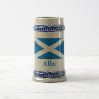 Scotland Saint Andrew Flag with Name in Gaelic Beer Stein