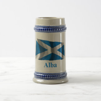 Scotland Saint Andrew Waving Flag w Name in Gaelic Beer Stein