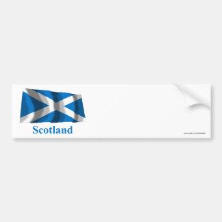 Scotland Saint Andrew Waving Flag with Name Bumper Sticker