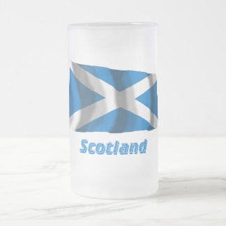 Scotland Saint Andrew Waving Flag with Name Frosted Glass Beer Mug