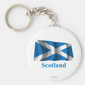 Scotland Saint Andrew Waving Flag with Name Key Chain
