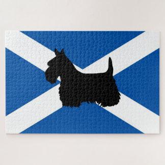 Scotland Saint Andrew's flag/Scottish Terrier dog Jigsaw Puzzle