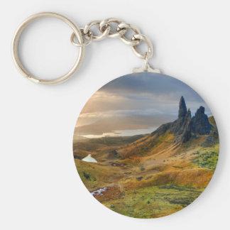 Scotland Scenic Rolling Hills Landscape Basic Round Button Keychain