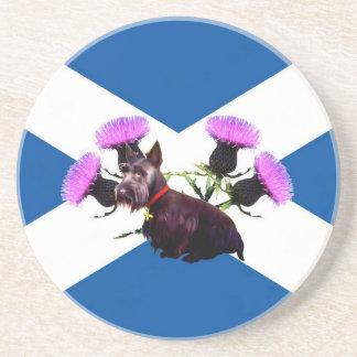 Scotland Scottish terrier, thistle Sandstone Coaster