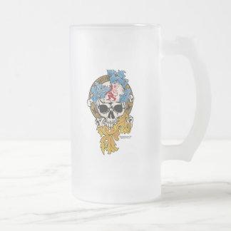 Scotland Skull Tattoo Frosted Glass Beer Mug