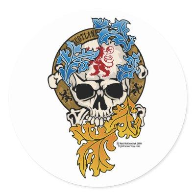 Scotland Skull Tattoo Round Sticker by fightcancertees