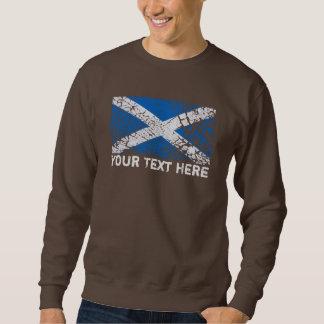 Scotland Text + Grunge Scottish Flag Pullover Sweatshirt