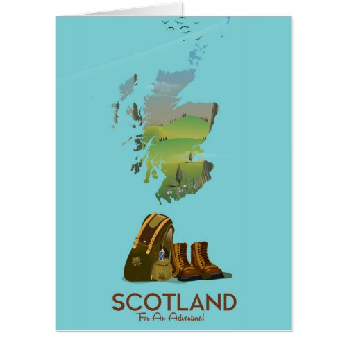 Scotland vintage hiking travel map poster
