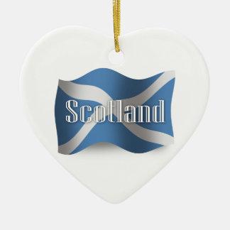 Scotland Waving Flag Ceramic Ornament